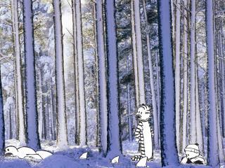 обои Кельвин и Хоббс в лесу фото