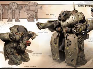 обои для рабочего стола: Gears of War 3 эскиз робота