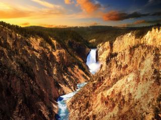 обои Закат,  водопад,  горы фото