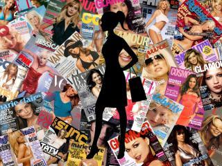 обои Силуэт девушки на фоне обложек журналов фото