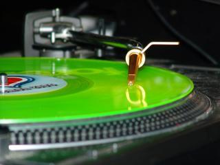 обои Зеленая виниловая пластинка фото