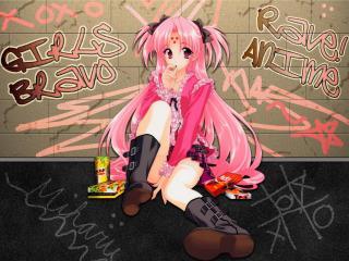 обои Аниме граффити девочка розовые волосы кирпичи фото