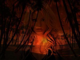обои Образ Шакиры на фоне заката фото