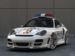 обои Top Art Porsche 911 996 перед полицейская фото