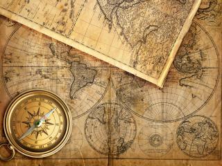 обои Старые картографические сведения на пожелтевших сраницах фото