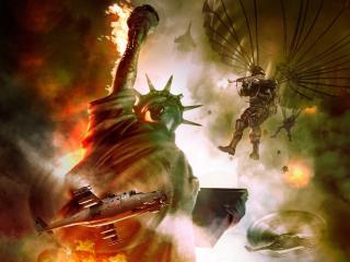 обои Статуя свободы в огне фото