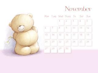 обои Календарь - 2013 Ноябрь - Мишка с букетом за спиной фото
