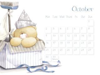 обои Календарь - 2013 Октябрь - Мишка в коробке фото