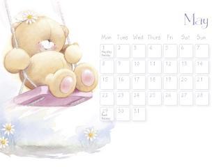 обои Календарь - 2013 Май - Мишка на качелях фото
