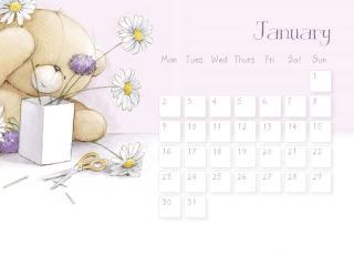 обои Календарь - 2013 Январь - Мишка на календаре фото