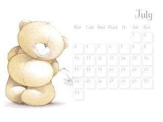 обои Календарь - 2013 Июль - Очаровательный мишка фото