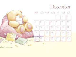 обои Календарь - 2013 Декабрь - Мишка в уютном кресле фото