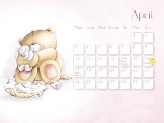 обои Календарь - 2013 Апрель - Мишка с зайкой фото