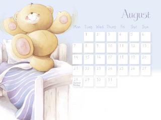обои Календарь - 2013 Август - Мишка танцует фото