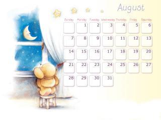 обои Календарь - 2013 Август - Лунная ночь фото