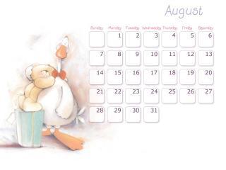 обои Календарь - 2013 Август - С другом гусем фото