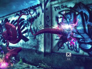 обои Ночные 3D граффити фото