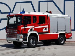 обои Scania 124C 420 4x4 Crew Cab Firetruck by Rosenbauer 2000 бок фото