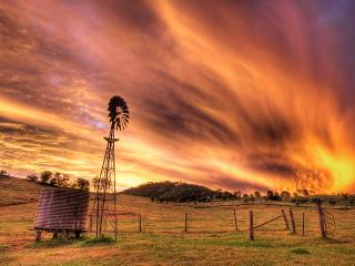 обои Ветряк на фоне неба фото