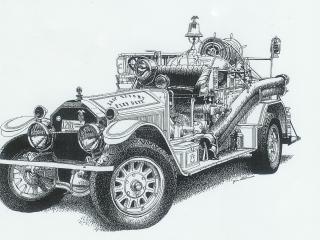 обои 1924 American LaFrance 1000-GPM Rotary Gear Pumper бок фото