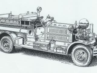 обои 1927 Ahrens-Fox 1000-GPM Piston Pumper сбоку фото