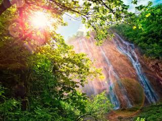 обои Солнечные водопады фото