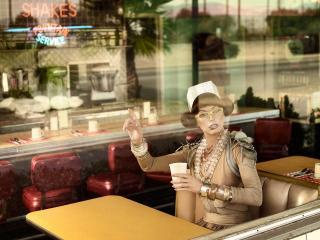обои Milla Jovovich в кафе как на витрине фото
