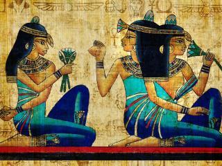 обои Египетские девушки - рисунок на бересте фото