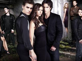 обои Елена,  Стэфан и Дэймон фото