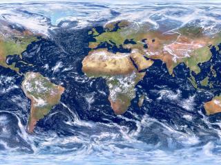 обои Карта планеты с облаками фото