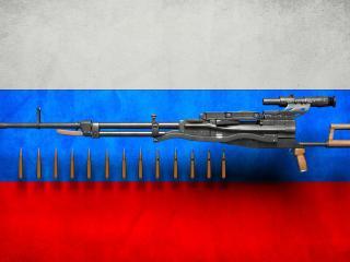 обои Пулемет нсвт,   флаг России фото
