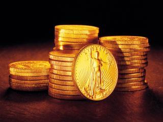 обои Столбики золотых монет фото