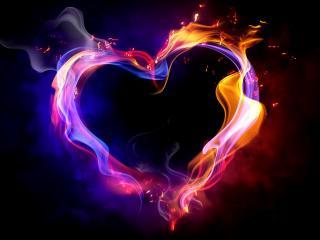 обои Сердце из огней фото