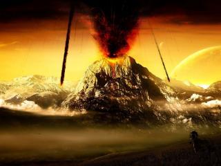 обои Лошадь спасается от проснувшегося вулкана фото