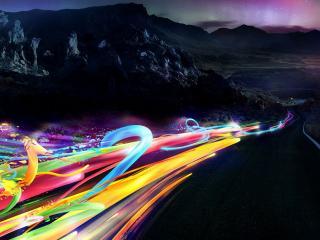 обои Цветные потоки в горах фото