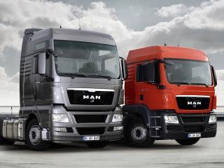 обои Man truck & bus,   грузовики  ман красный и  серый фото