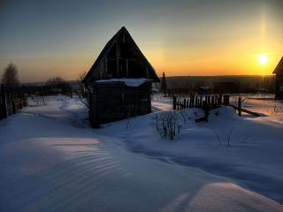 обои Зима в деревне - на закате фото