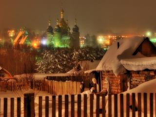 обои Зима в маленьком городке фото
