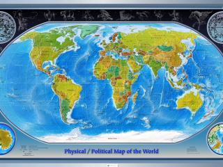 обои Политическая карта мира,   знаки зодиака фото