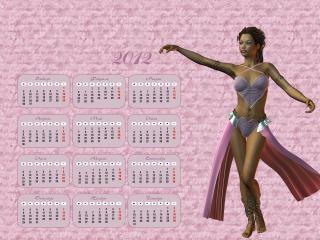 обои для рабочего стола: Календарь 2012 - Танцующая девушка