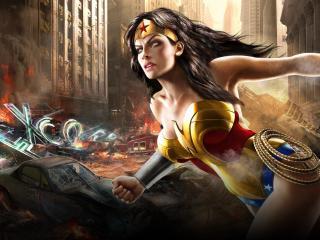 обои для рабочего стола: Суперменша спасает город