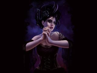 обои Очаровательная вампирша в темноте фото