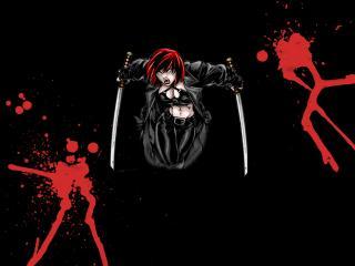 обои Девушка с мечами брызги крови фото