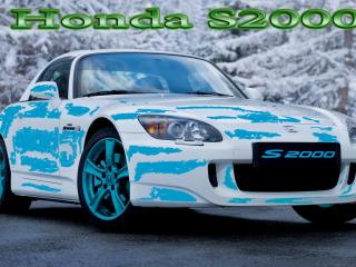 обои Honda S2000 на фоне зимнего леса фото