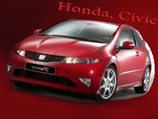обои Honda,   Civic на красном фоне фото