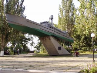 обои Бердянск фонтан в центре  памятник корабль фото