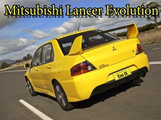 обои Mitsubishi Lancer Evolution желтого цвета на дороге фото