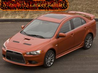 обои Mitsubishi Lancer Ralliart с огненным  логотипам фото