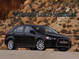 обои Mitsubishi-Lancer Sportbackx черного цвета в пустыни фото