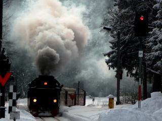 обои Зимний паровоз фото